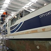 New graphics being installed to the East by West Ferries