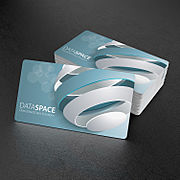 Stack of printed business cards with round corners