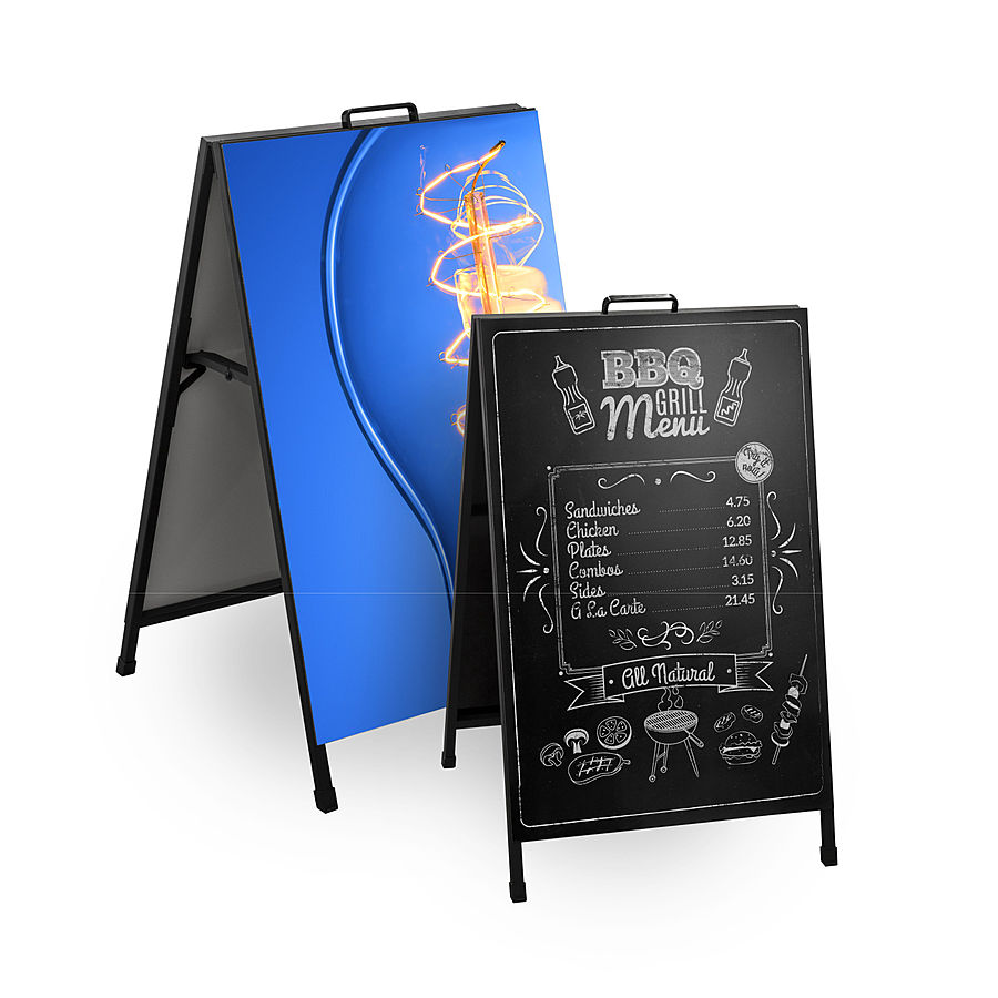 Small Chalkboard and Large Printed Metro A-Frame Sandwich boards