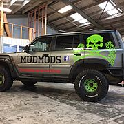 Mudmods offroad vehicle with simple vinyl graphics applied